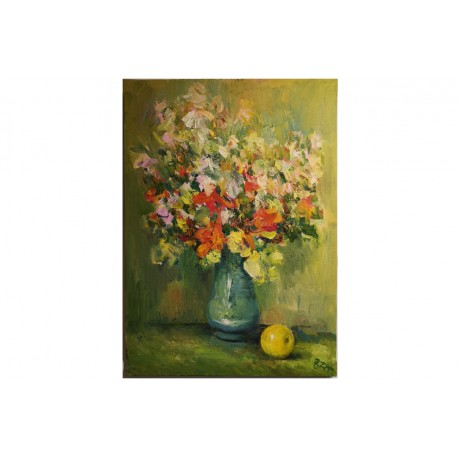 "Natuurmort ,õli lõuendil ""Lilled õunaga"""